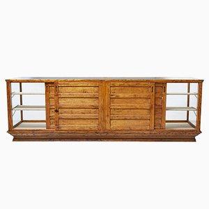 Large Antique Oak Haberdashery Display Cabinet