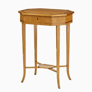 Octagonal Antique Birch Sewing Table