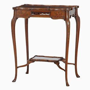 Mesa auxiliar Sheraton renacentista antigua de madera satinada