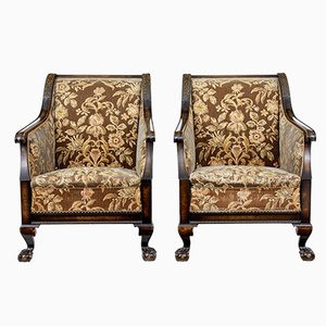Art Deco Carved Birch Armchairs, Set of 2
