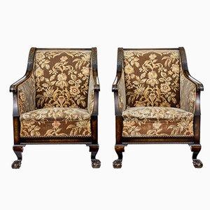 Art Deco Sessel aus geschnitzter Birke, 2er Set