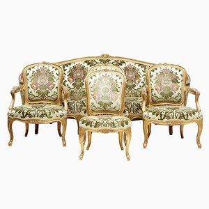 Antikes 5-teiliges vergoldetes Salon Wohnzimmer-Set