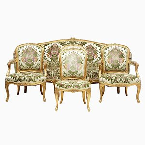 Antique 5 Piece Gilt Salon Living Room Suite