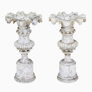 Urne decorative antiche in alabastro, set di 2