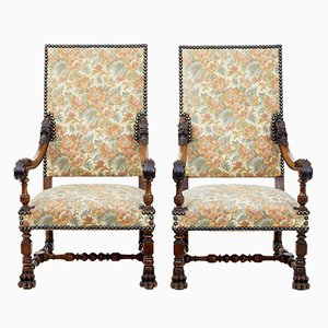 Antique French Carved Walnut Armchairs, Set of 2