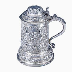 Antique Rococo Silver Lidded Tankard from John Penfold, 1723