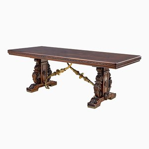 19th Century French Carved Walnut and Bronze Dining Table