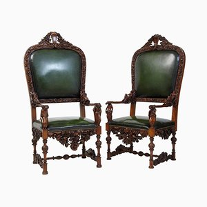 19th-Century Carved Walnut Florentine Renaissance Armchairs, Set of 2