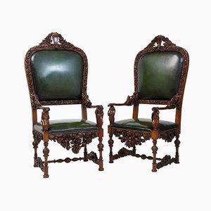 19th-Century Carved Walnut Florentine Renaissance Armchairs, Set of 2