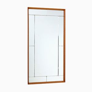 Large Teak Framed Wall Mirror, 1950s