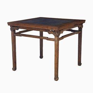 Großer chinesischer Tisch aus Hartholz mit Marmoreinsatz, 19. Jh.