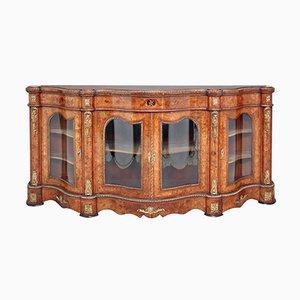 Large 19th-Century Victorian Walnut & Marquetry Credenza