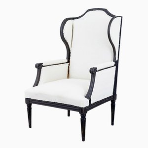 Large 19th Century Painted Wingback Armchair