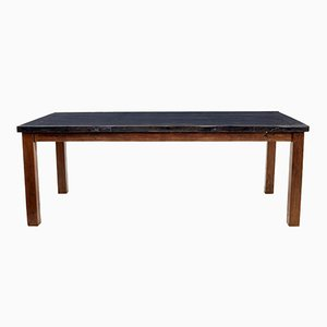 Large 19th-Century Teak & Painted Wood Dining Table