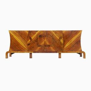 Large Art Deco Walnut & Root Sideboard, 1920s