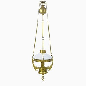 19th-Century Arts & Crafts Brass Adjustable Lantern
