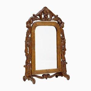 Espejo de tocador de roble tallado de finales del siglo XIX