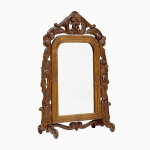 Late 19th-Century Black Forest Carved Oak Vanity Mirror