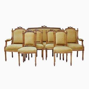 Set da salotto antico in legno di noce intagliato