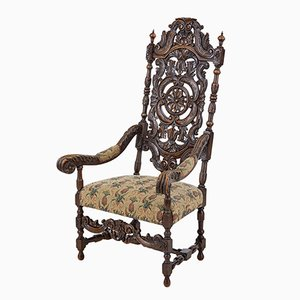 Late 19th-Century Carved Walnut Armchair