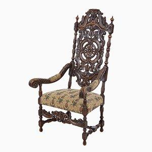 Sessel mit Gestell aus geschnitztem Nussholz, spätes 19. Jh.