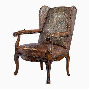 Französischer Sessel mit Gestell aus Nussholz im Jugendstil, spätes 19. Jh.