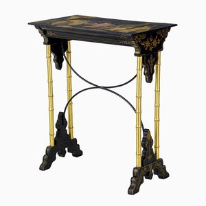 Late 19th-Century Chinese Black Lacquer & Gilt Workbench