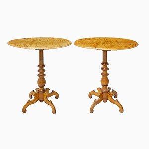 Tavolini in betulla, fine XIX secolo, Svezia, set di 2