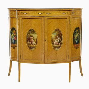 Late 19th-Century Sheraton Satinwood Inlaid & Painted Cabinet