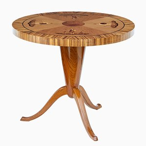 Art Deco Style Elm Inlaid Coffee Table, 1940s