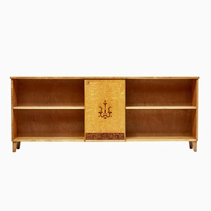 Low Art Deco Style Scandinavian Birch Inlaid Bookcase, 1940s