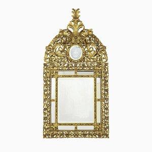 Espejo antiguo dorado de madera tallada