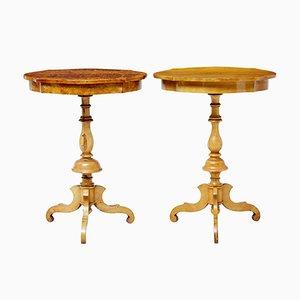 Tavolini di servizio antichi in betulla, Svezia, set di 2
