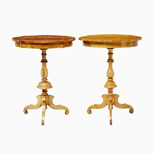Antique Swedish Birch Occasional Tables, Set of 2