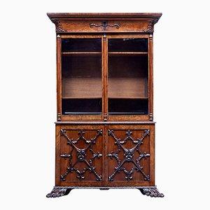 Antikes dänisches Bücherregal aus geschnitztem Mahagoni