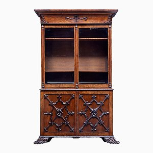 Antique Danish Carved Mahogany Bookcase