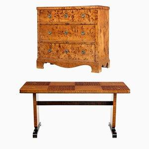 Tavolino da caffè in stile Art Déco in legno di betulla intarsiato, anni '40
