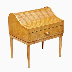 Birch Tambour Sewing Box on Stand, 1950s