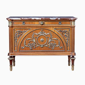 Mid-Century Mahogany Marble Top Commode