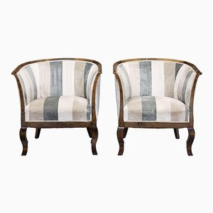 Vintage Scandinavian Birch Armchairs, Set of 2
