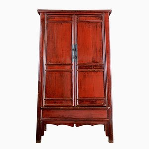 Large Antique Chinese Red Lacquer Cabinet