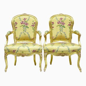 Antique Louis XV French Gilt Fauteuil Armchairs from Michard, Set of 2