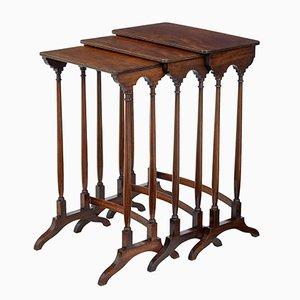 Tavolini ad incastro antico in mogano