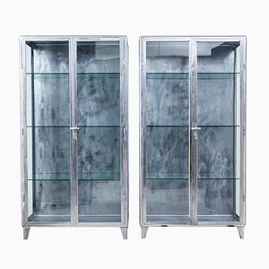 Art Deco Polished Steel Medical Display Cabinets, 1920s, Set of 2