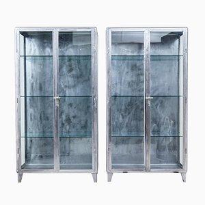 Art Deco Polished Steel Medical Display Cabinets, 1920s, Set of 2