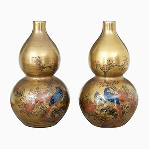 Art Deco Chinese Hand-Painted Porcelain Vases, Set of 2