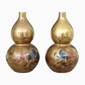 Chinesische handbemalte Art Deco Porzellanvasen, 2er Set