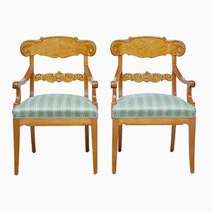 Vintage Swedish Birch Armchairs, Set of 2