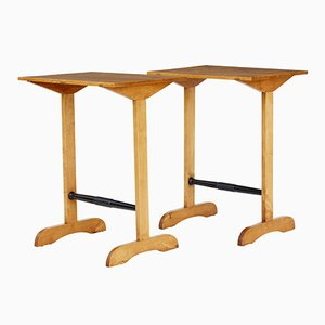 Vintage Swedish Birch Side Tables, Set of 2