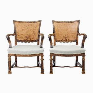 Art Deco Burr Birch Armchairs, Set of 2